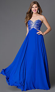 Xtreme Long Strapless Sweetheart Jewel Accented Prom Dress