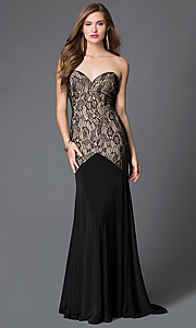 Drop Waist with Lace Bodice Long Xcite Prom Dress