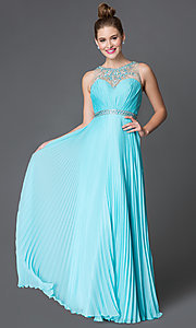 Pleated Floor Length Xcite Prom Dress with Jewel Embellished Sheer Neckline and Back