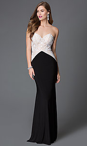 Sheer and Sequin Bodice Open Back Xcite Dress