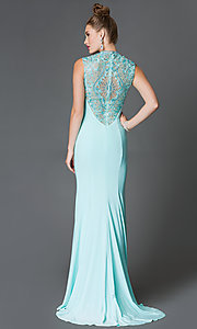 High Neck Xcite Sleeveless Floor Length Prom Dress with Lace Embellished Sheer Back