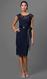 Image of knee-length lace dress by Marina with tiered skirt. Style: JU-MA-262874i Detail Image 1