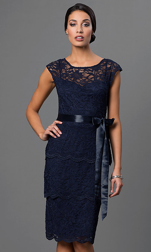 Image of knee-length lace dress by Marina with tiered skirt. Style: JU-MA-262874i Front Image