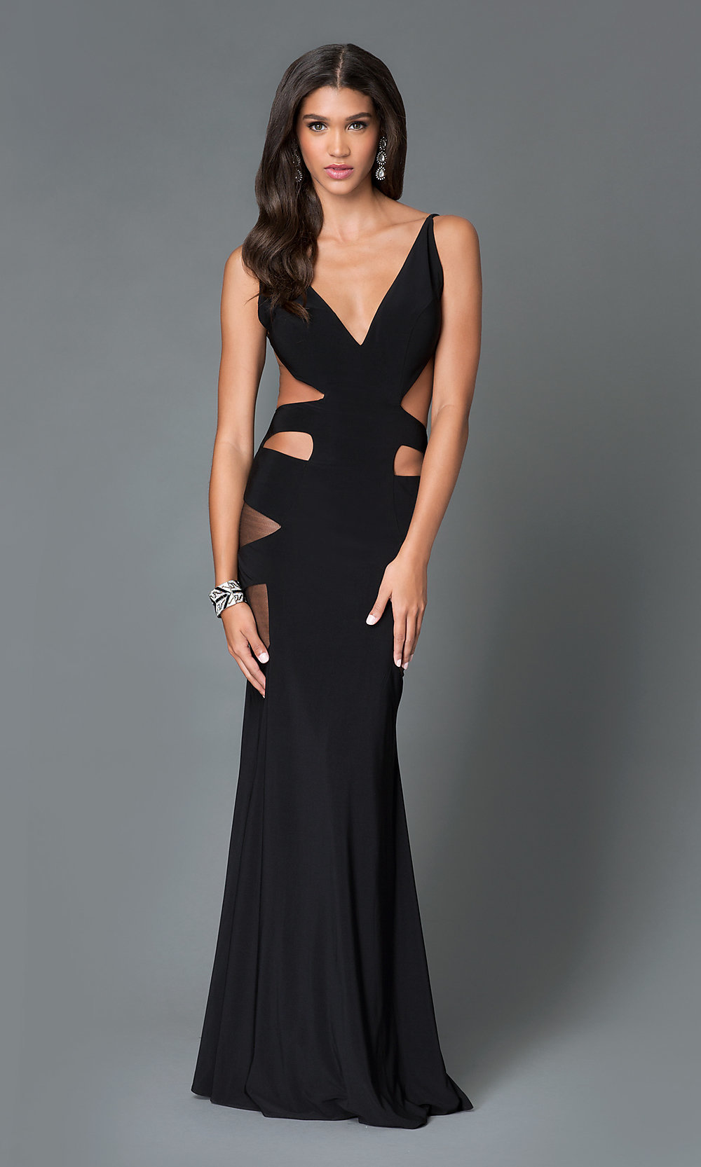 Long V Neck Open Back Prom Dress With Cut Outs From