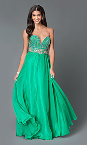 Long Strapless Sweetheart Chiffon Prom Dress TE-5010 by Temptation
