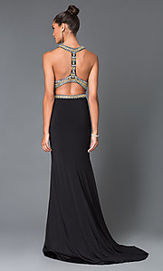 Image of long black two piece gold beaded high neck dress Style: TE-5014 Back Image