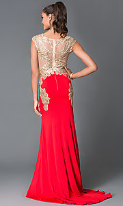 Image of long scoop neck sheer embellished bodice dress  Style: TE-5016 Back Image