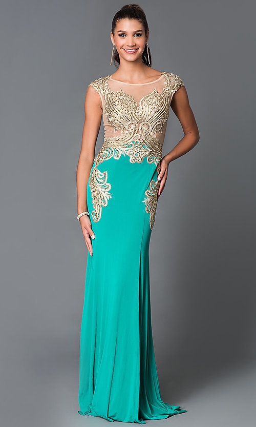 Image of long scoop neck sheer embellished bodice dress  Style: TE-5016 Front Image
