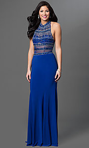 Image of long sleeveless halter dress with jewel detailing. Style: TE-5050 Detail Image 2