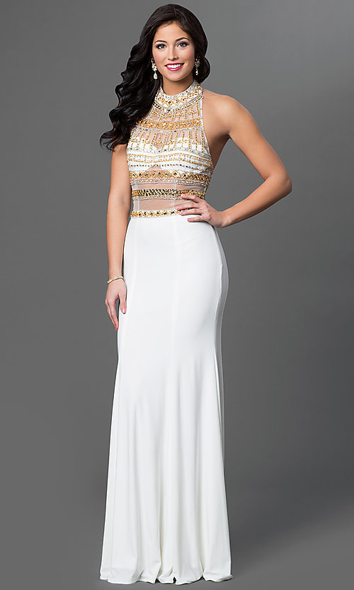 Image of long sleeveless halter dress with jewel detailing. Style: TE-5050 Front Image