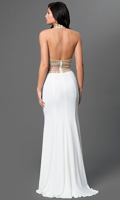 Image of long sleeveless halter dress with jewel detailing. Style: TE-5050 Back Image