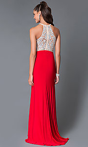 Image of long high neck jewel embellished keyhole sheer bodice dress  Style: TE-5062 Back Image