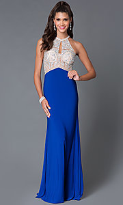 Image of long high neck jewel embellished keyhole sheer bodice dress  Style: TE-5062 Front Image
