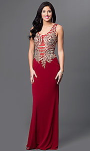 Floor Length Scoop Neck Illusion Back Prom Dress by Temptation