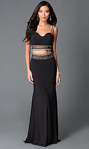 Long Black Two Piece Beaded Prom Dress by Temptaition