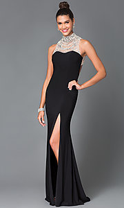Long Open Back High Neck Temptation Prom Dress TE-4016