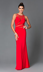 Long Sleeveless High Neck Jersey Temptation Prom Dress TE-4039