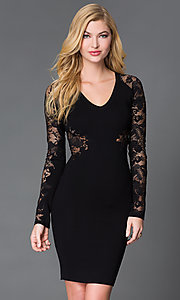 V-Neck Knee Length Long Sleeve Wow Couture Dress with Lace