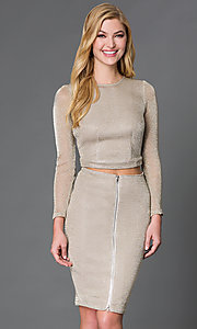 Image of long-sleeve two-piece mesh dress Style: WC-K3661 Front Image
