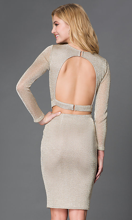 Image of long-sleeve two-piece mesh dress Style: WC-K3661 Back Image