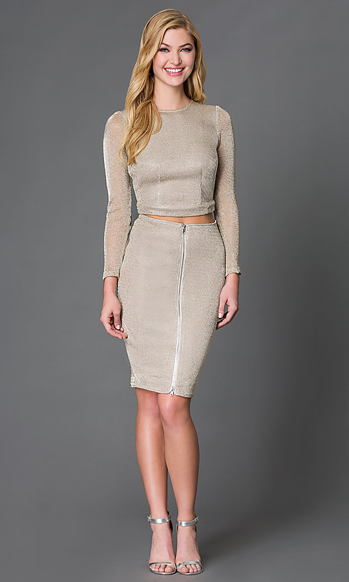 Image of long-sleeve two-piece mesh dress Style: WC-K3661 Detail Image 1
