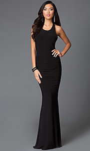 Image of floor length black scoop neck criss cross strap back dress Style: SY-D20083V Front Image