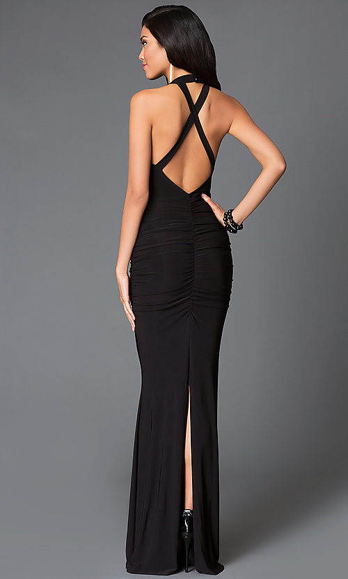 Image of floor length black scoop neck criss cross strap back dress Style: SY-D20083V Back Image
