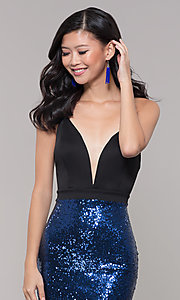 Image of long sequin-skirt low v-neck prom dress. Style: SY-ID2735EP Detail Image 1
