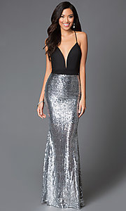 Long Silver Sequin Low V-Neck Prom Dress