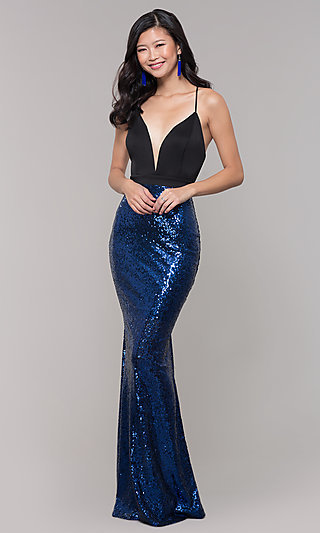 Long Sequin-Skirt Low V-Neck Prom Dress