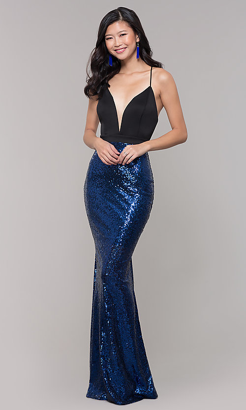 Image of long sequin-skirt low v-neck prom dress. Style: SY-ID2735EP Front Image