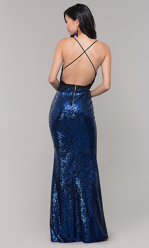 Image of long sequin-skirt low v-neck prom dress. Style: SY-ID2735EP Back Image