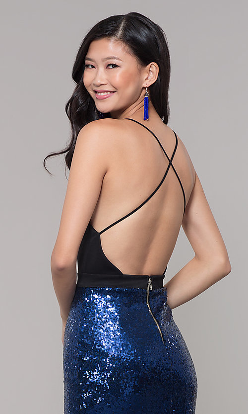 Image of long sequin-skirt low v-neck prom dress. Style: SY-ID2735EP Detail Image 2