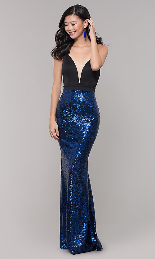 Image of long sequin-skirt low v-neck prom dress. Style: SY-ID2735EP Detail Image 3