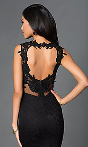 Image of sleeveless sheer neckline lace embroidered open back floor length dress. Style: SY-ID2775VP Detail Image 1