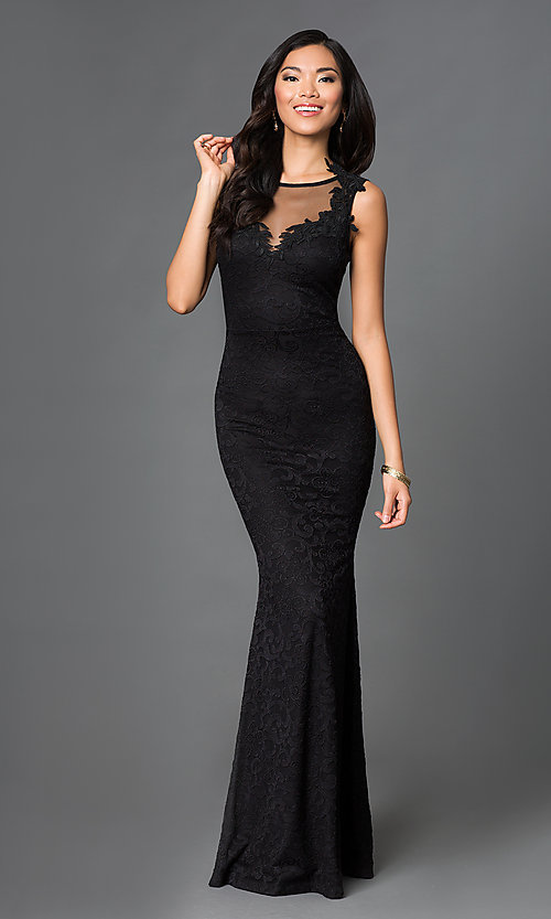 Image of sleeveless sheer neckline lace embroidered open back floor length dress. Style: SY-ID2775VP Front Image