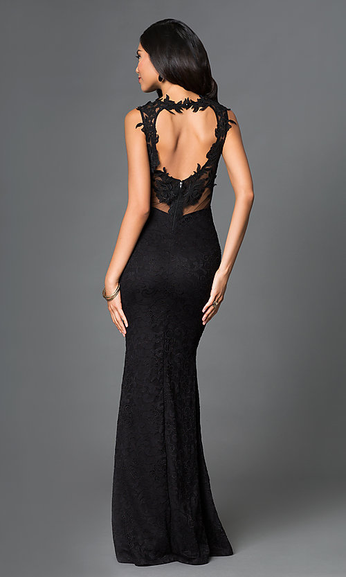 Image of sleeveless sheer neckline lace embroidered open back floor length dress. Style: SY-ID2775VP Back Image