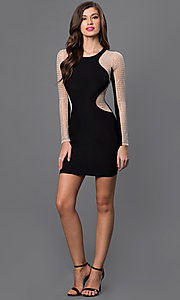 Image of short black long sleeve silver studded dress Style: SY-ID3100VP Detail Image 1