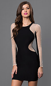 Short Black Dress with Silver Studded Illusion Sleeves