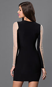 Image of short black long sleeve silver studded dress Style: SY-ID3100VP Back Image