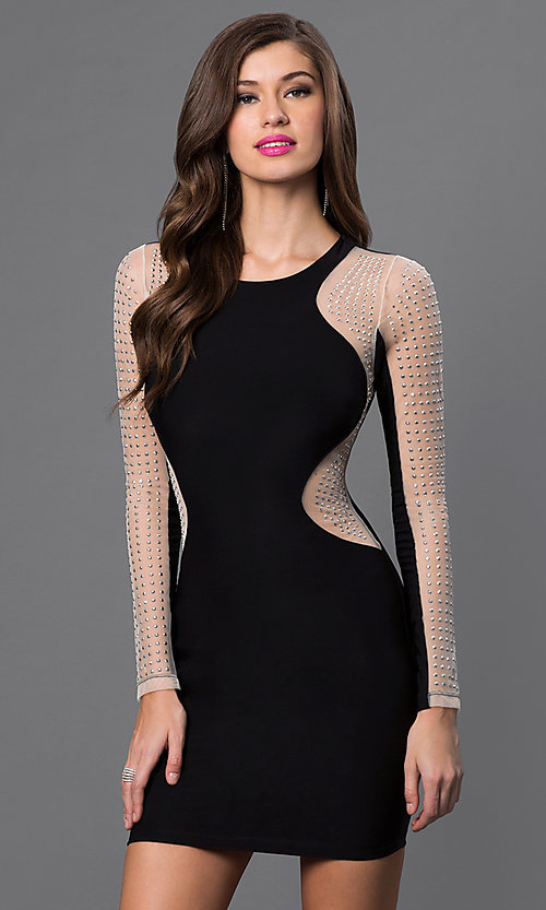 Image of short black long sleeve silver studded dress Style: SY-ID3100VP Front Image