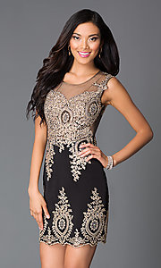 Image of Short Beaded Lace Sweetheart Prom Dress Style: CD-GL-G531 Front Image