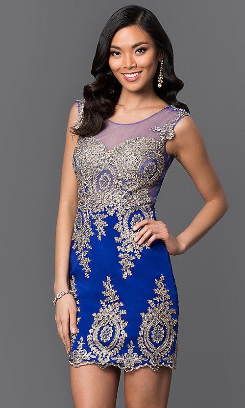 Image of Short Beaded Lace Sweetheart Prom Dress Style: CD-GL-G531 Detail Image 3