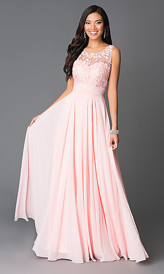 Open Back Lace Applique Bodice Prom Dress Promgirl