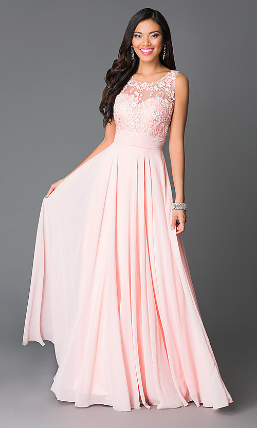 Image of long prom dress with open-back lace-applique bodice. Style: CD-GL-G541 Front Image