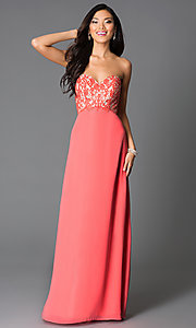 Image of strapless sweetheart-bodice prom dress with corset. Style: CD-GL-G551 Front Image