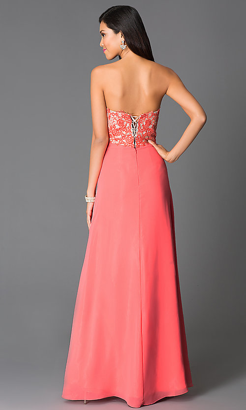 Image of strapless sweetheart-bodice prom dress with corset. Style: CD-GL-G551 Back Image