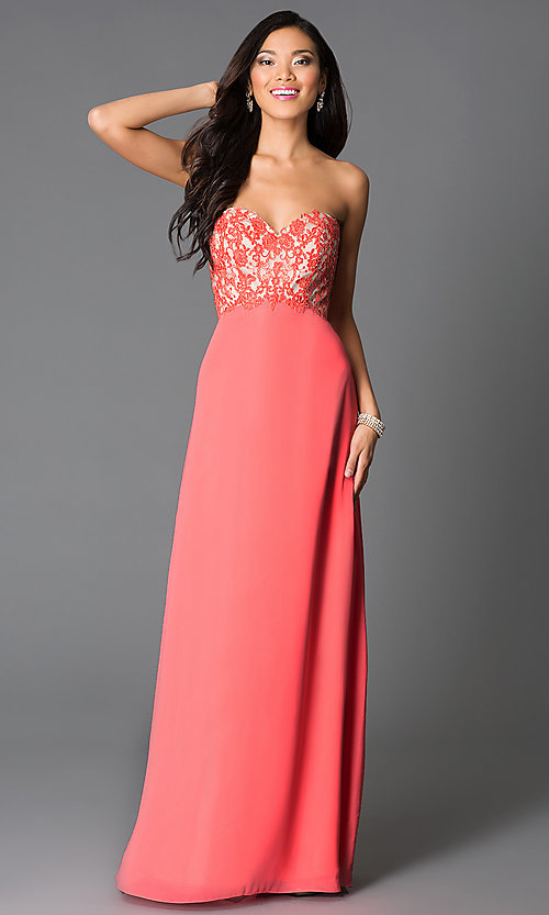 Image of strapless sweetheart-bodice prom dress with corset. Style: CD-GL-G551 Detail Image 1