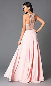 Image of high-neck beaded illusion-back pink long prom dress. Style: CD-GL-G554 Back Image