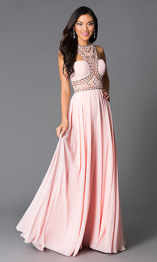 Image of high-neck beaded illusion-back pink long prom dress. Style: CD-GL-G554 Front Image